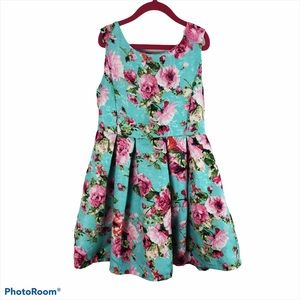 Knitworks GIrls 8 Blue Floral Pleated A Line Dress